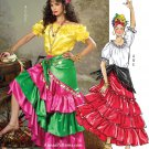 Ruffled Tiered Skirt Top Sewing Pattern 16-22 Flamenco Dancer Peasant Gypsy Pirate 4889