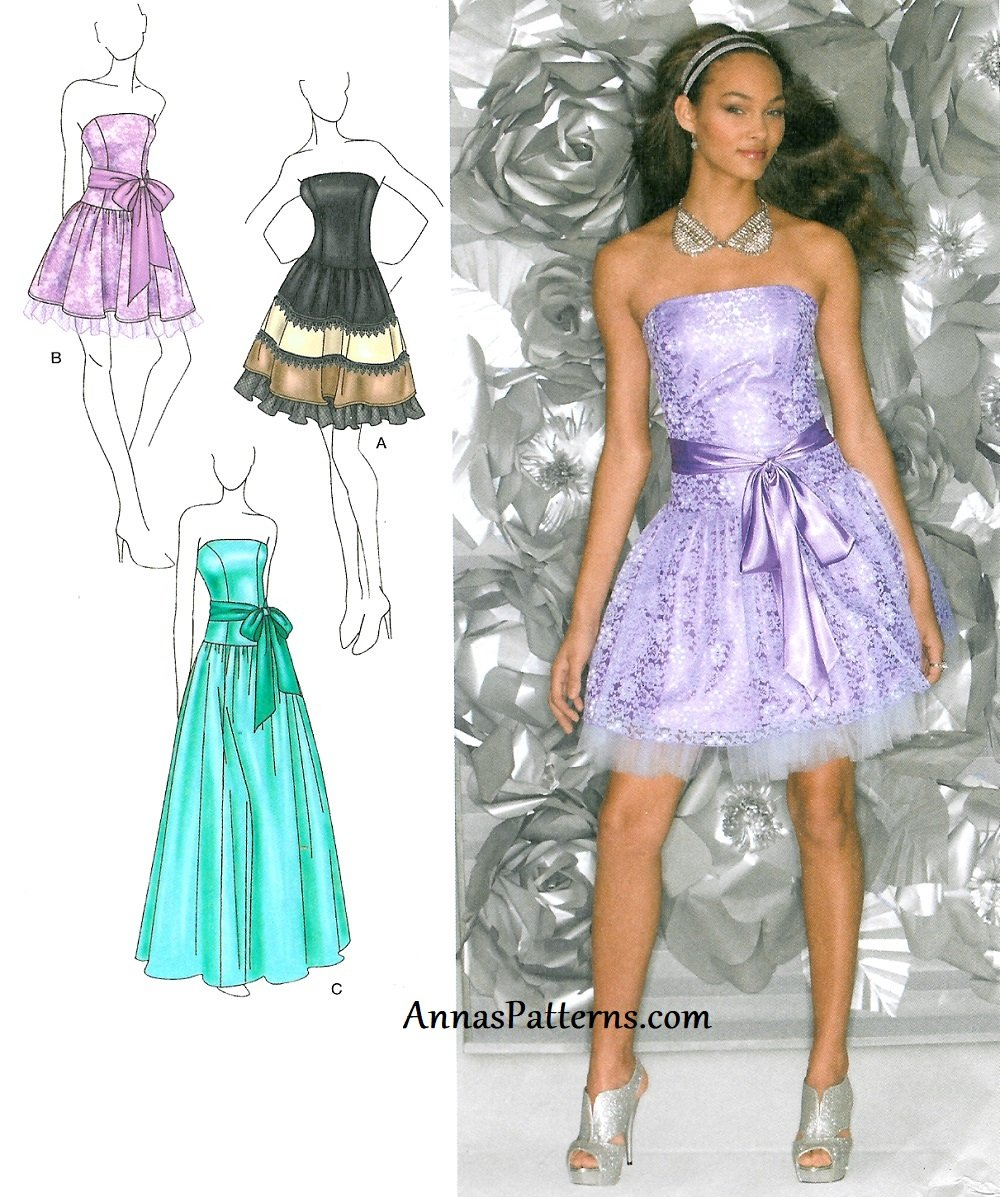 strapless party dress sewing pattern 412 prom formal long
