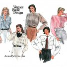 Vintage Vogue Shirt Sewing Pattern Sz 12 Button Front Pleats Mandarin Collar 1398