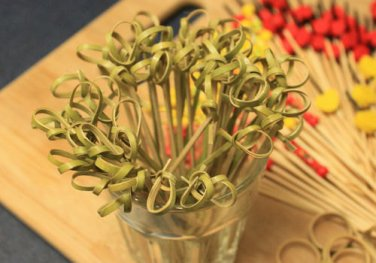 """4"""" Inch Twisted Knotted Bamboo Cocktail Drink Party Appetizer Picks Toppers Stirrers Skewers"""