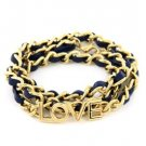 Leather Wrap Bracelet Love Bracelet Blue Gold Bracelet Gold Chain Love Bracelet