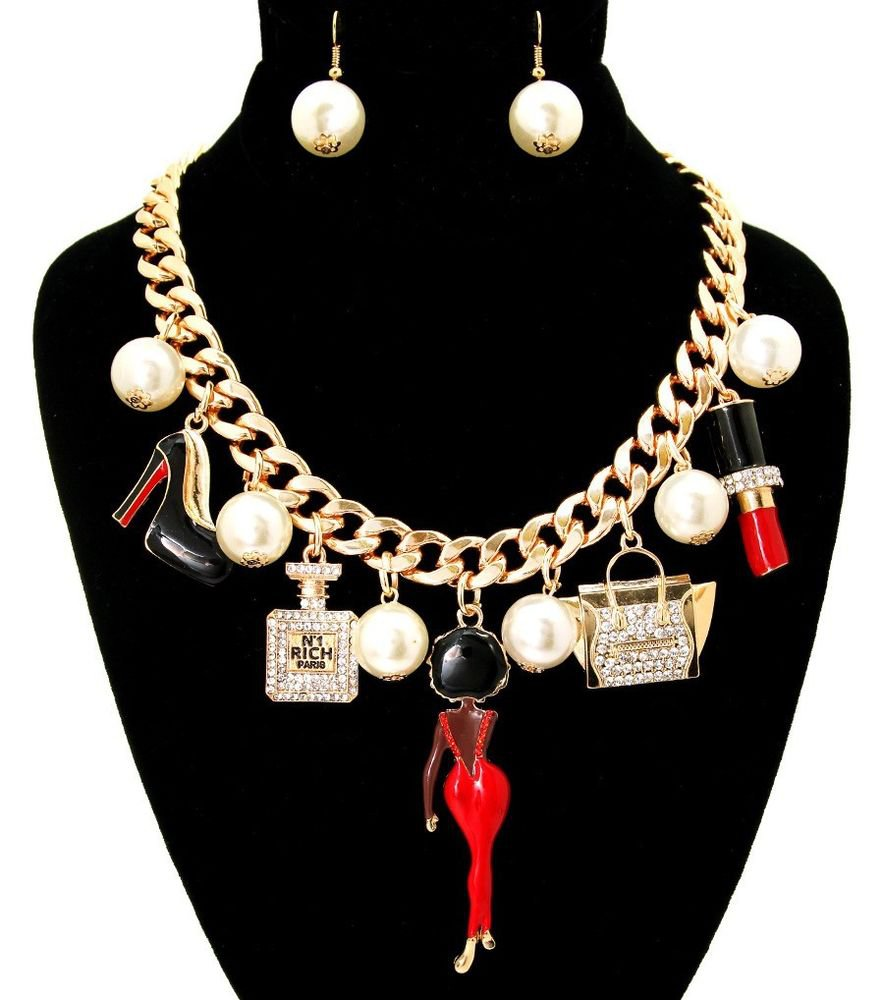 Afro Lady Diva in Red Dress Purse Perfume Bottle Lipstick Heels Pearl Necklace