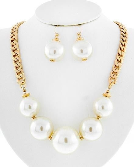 Faux Pearl Chain Necklace Earrings Set Big Pearl Necklace Chunky Cream Pearls