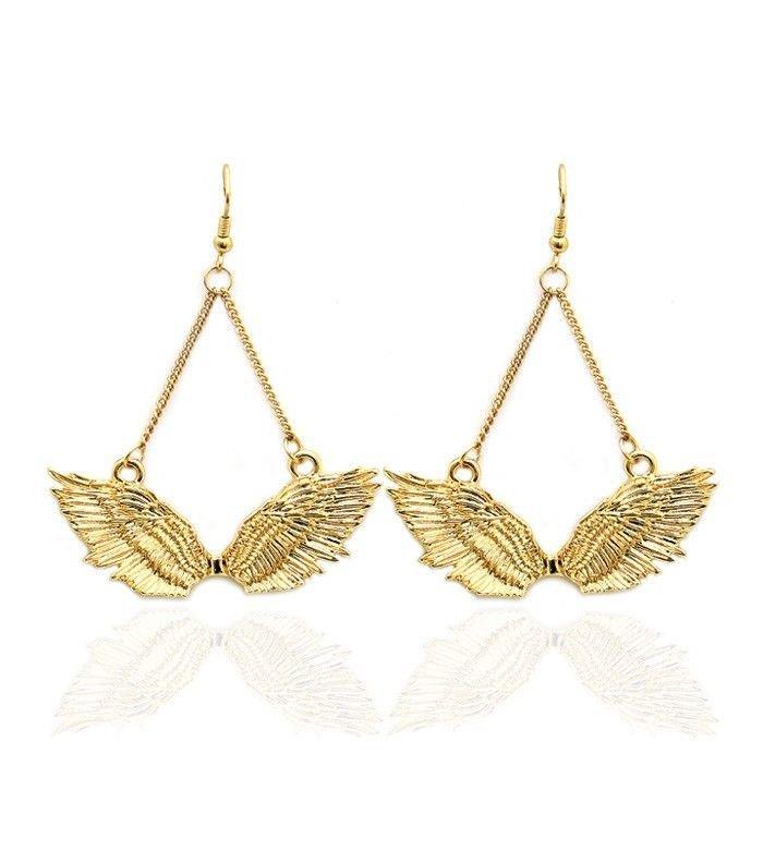"""Gold Wing Earrings Gold Earrings Dangle Gold Earrings Basketball Earrings 2.25"""""""