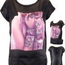 Jewelry Top Black Top Black T Shirt Girl Print Top Bling T Shirt Juniors sz S/M