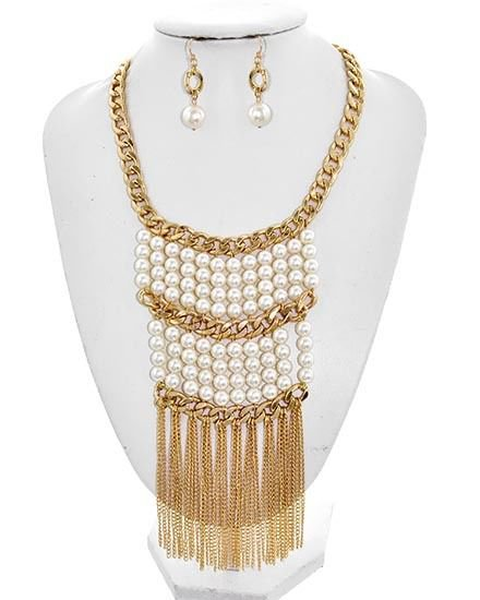 New Faux Pearl and Tassel Necklace Earrings Set Long Multi Pearl Bead Neclace