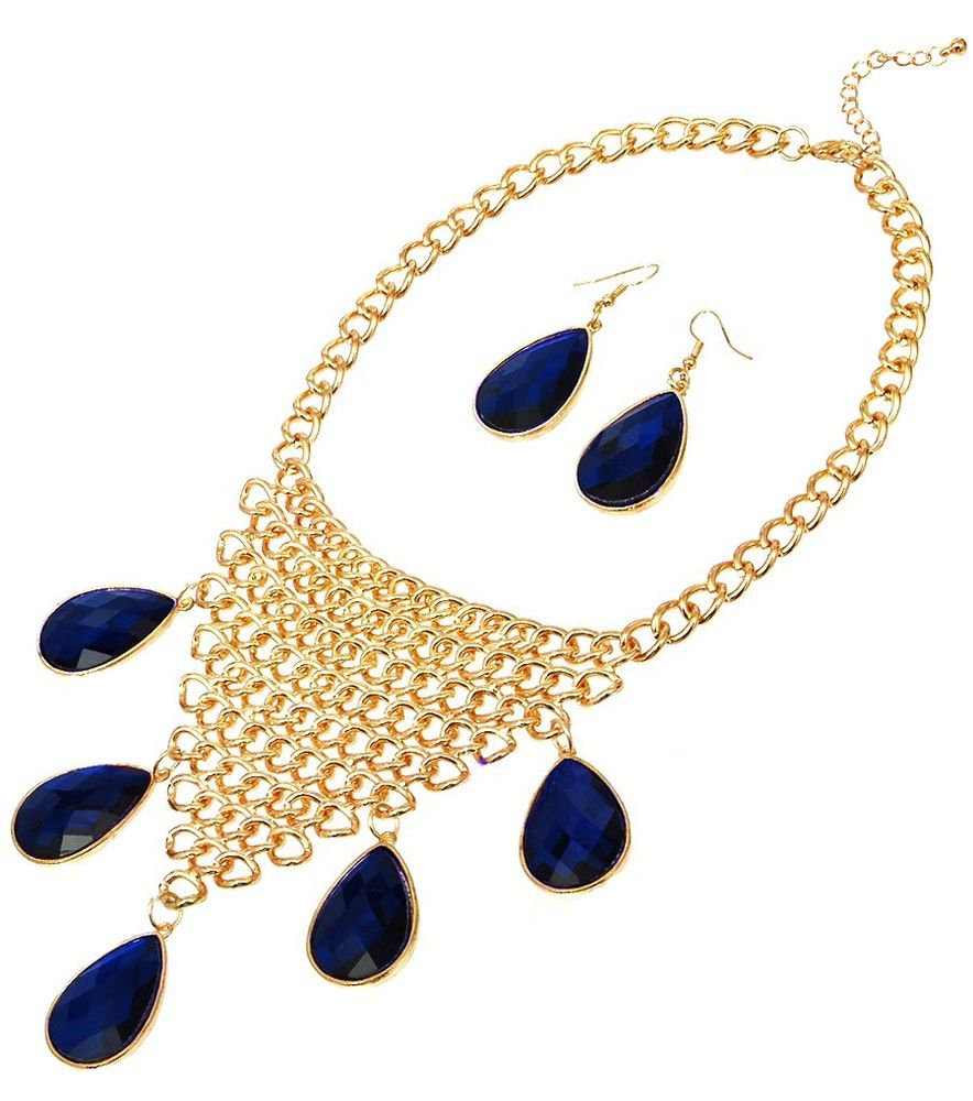Gold Royal Blue Stone Chain Necklace Earrings Set Statement Blue Necklace