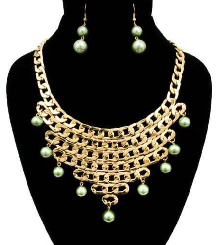 Gold Faux Green Pearl Chain Necklace Earrings Set Statement Green Necklace