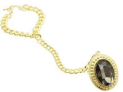 Gold Chain Black Stone Slave Bracelet Black & Gold Bracelet with attached Ring