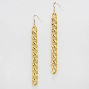 Long Gold Chain Earrings Chain Link Curb Chain Earrings Gold Earrings 5 inches