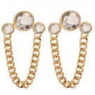 Gold Clear Three Stone Chain  Earrings Curb Chain Link  Gold Earrings 3.5 inch