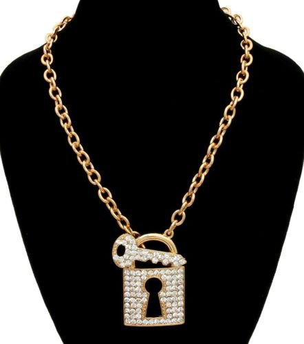 Bling Lock and Key Necklace Gold Chain Lock Necklace Gold Lock Pendant Necklace