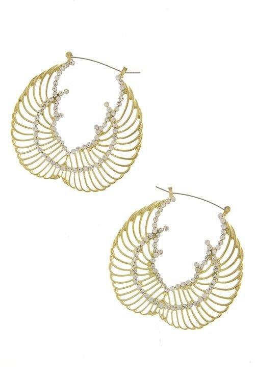 Gold and Crystal Wing Earrings Hoop Style Wing Earrings Bling Gold Earrings