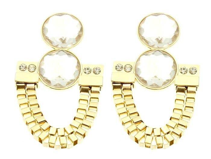 Gold Crystal Box Chain Earrings Gold Dangle Earrings Gold Earrings 3.5'