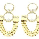 Gold Crystal Box Chain Earrings Gold Dangle Earrings Gold Earrings 3.5'