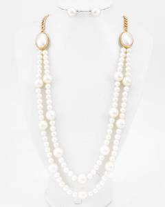 Double Row Pearl Necklace and Pearl Earrings Set 26 inch Fashion Pearl Necklace