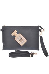 Faux Leather Perfume Bottle Clutch Purse Black Clutch Handbag Black Purse
