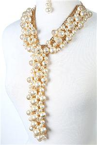 Long Cluster Pearl Necklace Earrings Set Statement Pearl Necklace Cream Pearls