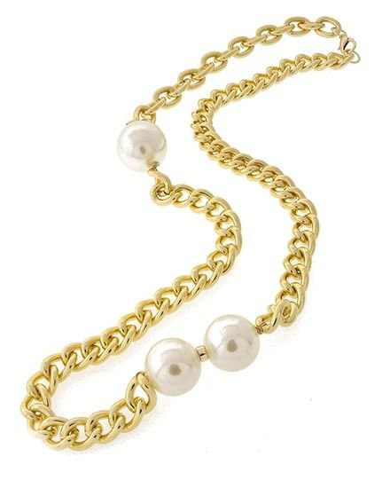 Trendy Cream Pearl Necklace Chunky Chain Chunky Big Pearl Necklace Gold Chain