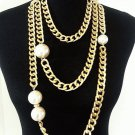 Chunky Chain Cream Pearl Necklace Pearl Earrings Set Faux Pearl Necklace