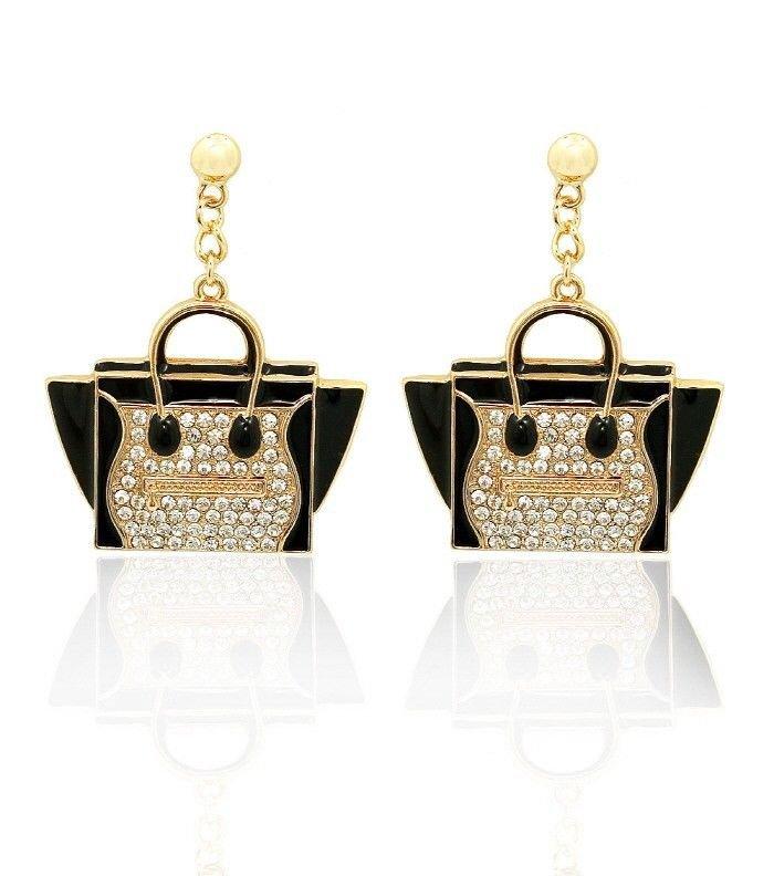 Black Purse Earrings Hand Bag Earrings Black Earrings Rhinestone Black Earrings