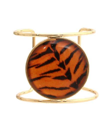 Gold Wide Cuff Bracelet Tiger Print Cuff Bracelet Tiger Print Stone Bracelet