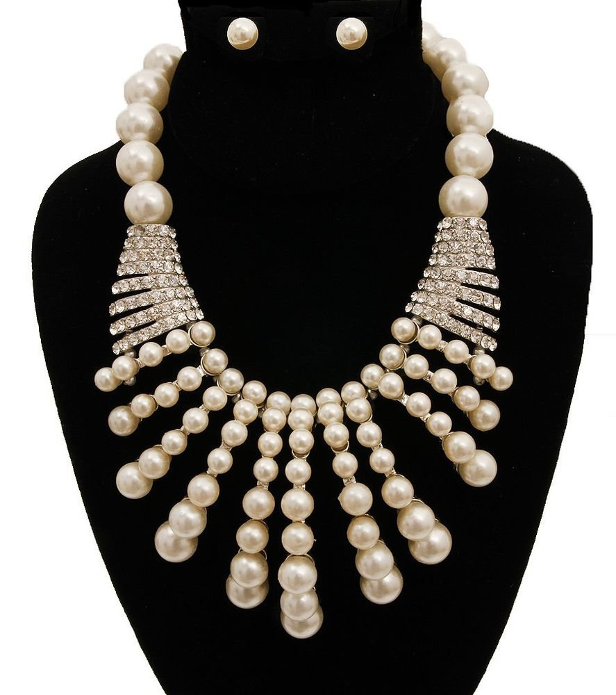 New Fancy Claw Cream Pearl Necklace Earrings Set Silver Crystal Pearl Necklace