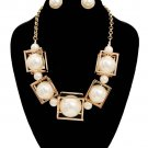 New Gold Chain Faux Pearls in a Cube Necklace Box Pearl Necklace Earrings Set