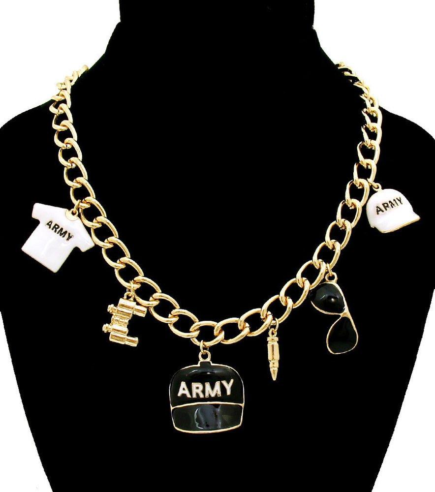 Blue Army Charm Pendant Necklace TShirt Cap Binoculors Bullet Sunglasses Charms