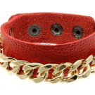 Gold Chain Bracelet Red Faux Leather Wrap Chain Bracelet Red Bracelet Chain Link