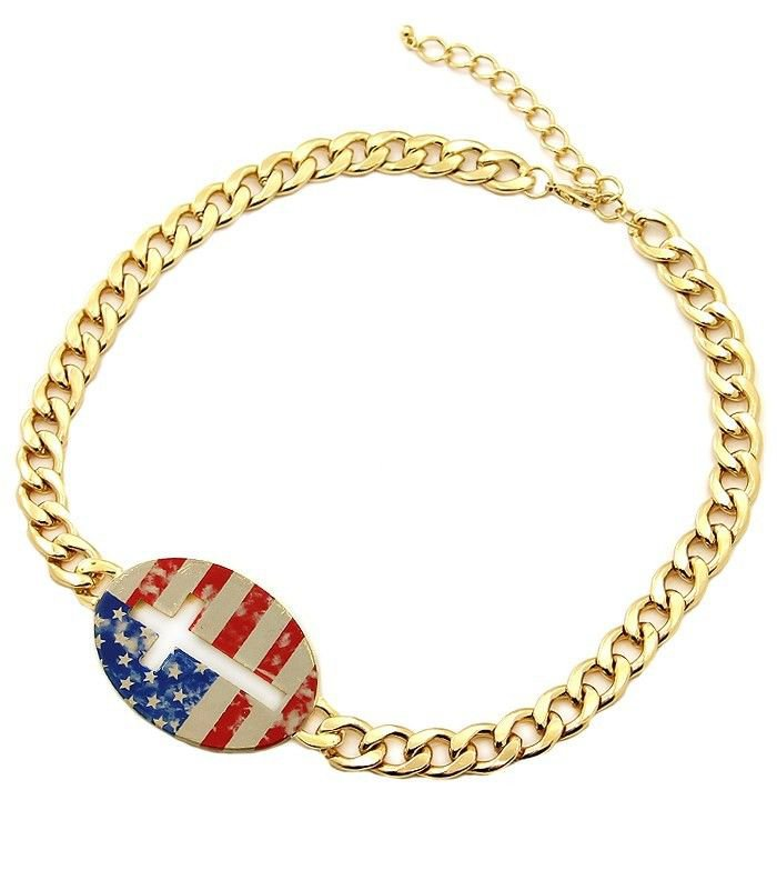 American Flag Cross Necklace Gold Chain Necklace Cross Necklace Flag Necklace