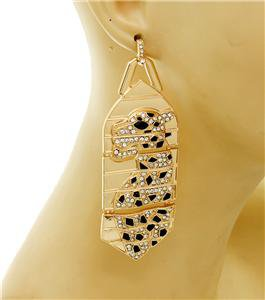 Statement Gold Jaguar Earrings with Crystals Leopard Earrings Animal Earrings