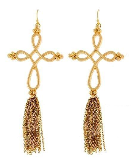 Long Gold Tassel Chain Twist Cross Earrings Chain Earrings Gold Earrings 5'