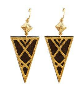 """Wood Triangle Earrings Gold Brown Wood Earrings Triangle Earrings 3.5"""""""