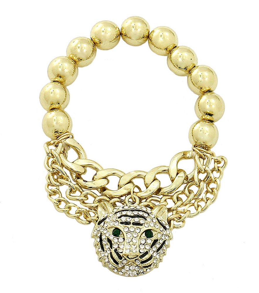 Gold Tiger Chain Bracelet Gold Bracelet Animal Lion Bead & Chain Bracelet