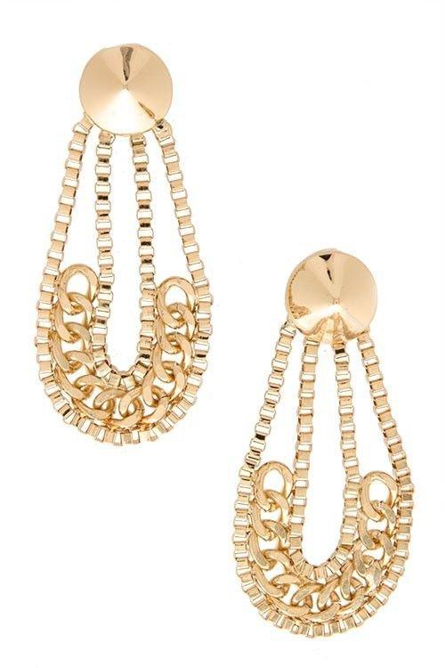 Gold Chain Earrings Spike Earrings Gold Dangle Earrings Gold Earrings 2.75'