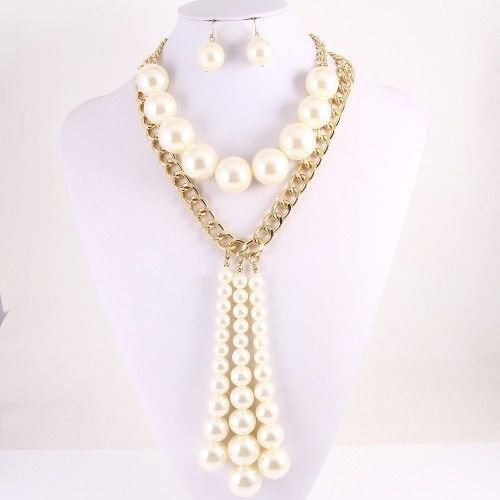 Chunky Cream Pearls Earrings Set Multi Pearl Necklace Ivory Pearls Gold Chain
