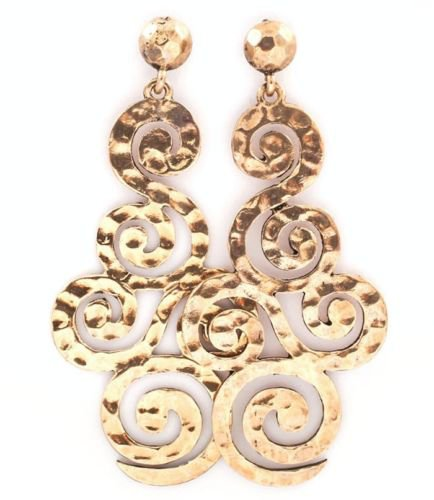 Gold Baroque Earrings Filigree Earrings Swirl Earrings Gold Earrings 3 inches