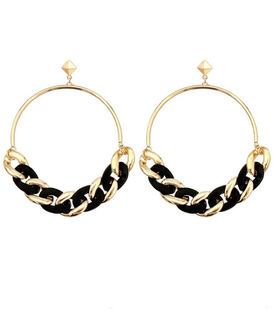 """Big Chunky Gold & Black Chain Hoop Earrings Gold Earrings Gold Hoop Earrings 4"""""""