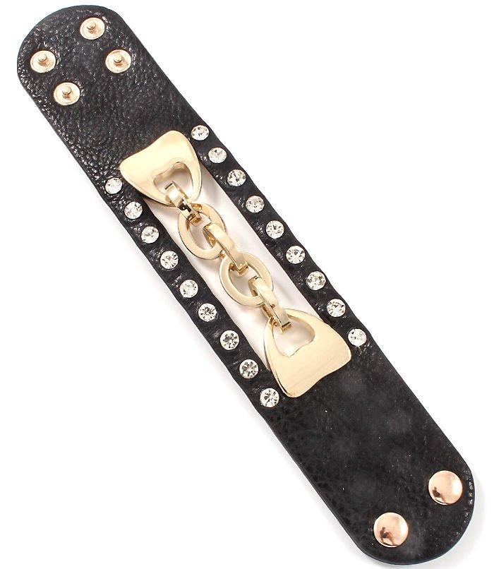 Black Faux Leather Wrap Bracelet Crystal Gold Chain Bracelet Black Bracelet