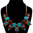 Gold Chain Blue Green Brown Stone Flower Necklace Earrings Set