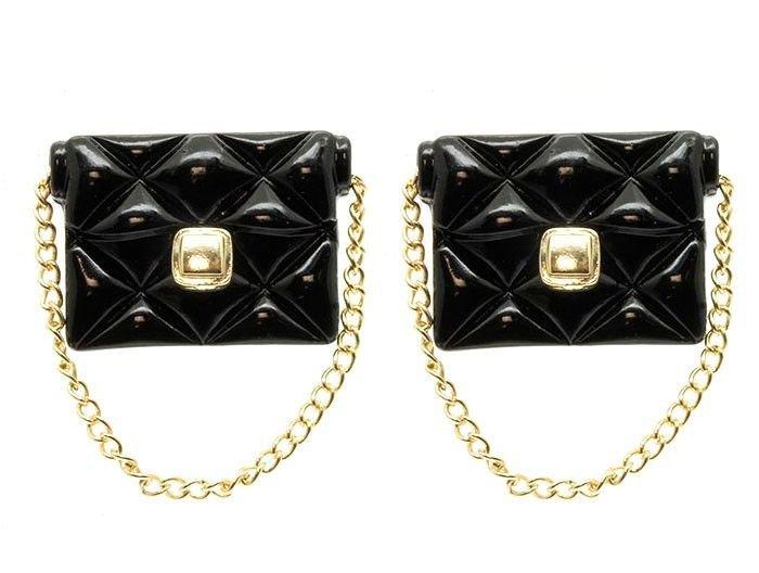 Black Handbag Purse Earrings with Gold Chain Black Earrings Chain Earrings 1.5'
