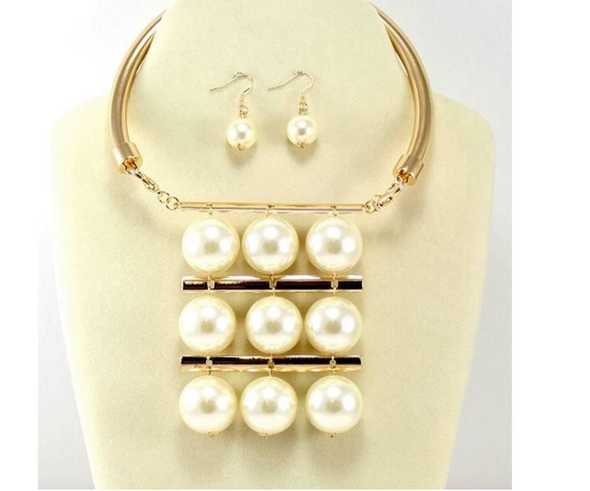 Bold Gold and Cream Pearl Necklace Set Pearl Choker Necklace Set Multi Row
