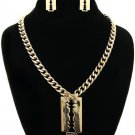New Gold Razor Necklace Earrings Set Razor Earrings Gold Chain Gold Necklace
