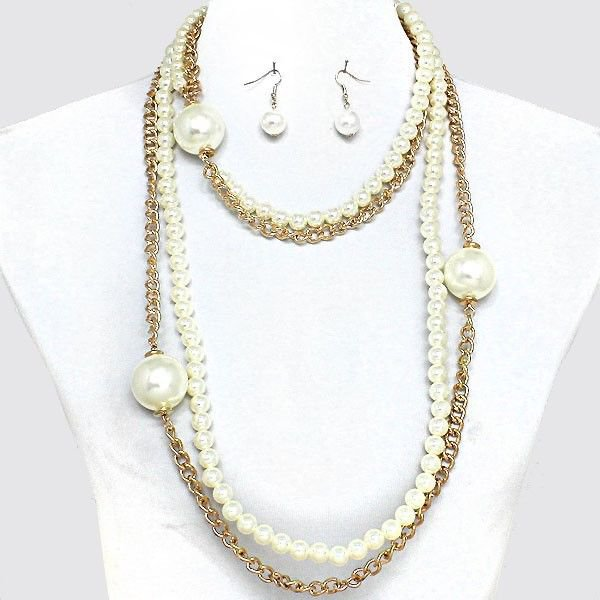 Chunky Cream Pearls Faux Pearl Chain Necklace Earrings Set Pearl Necklace