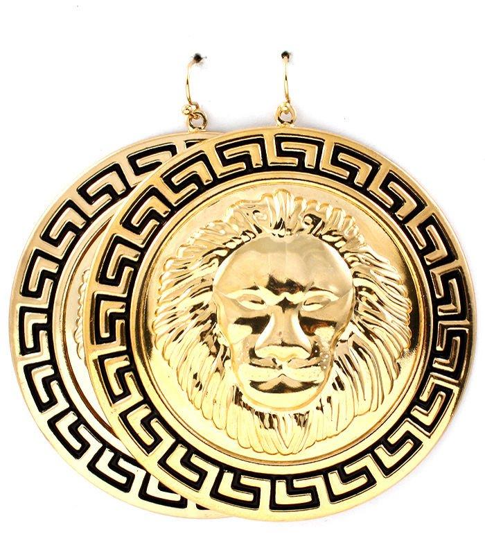 Round Gold Lion Head Black Greek Key Earrings Statement Lion Earrings Leo Lion