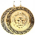 Round Gold Lion Head Black Greek Key Earrings Statement Lion Earrings Leo Lion