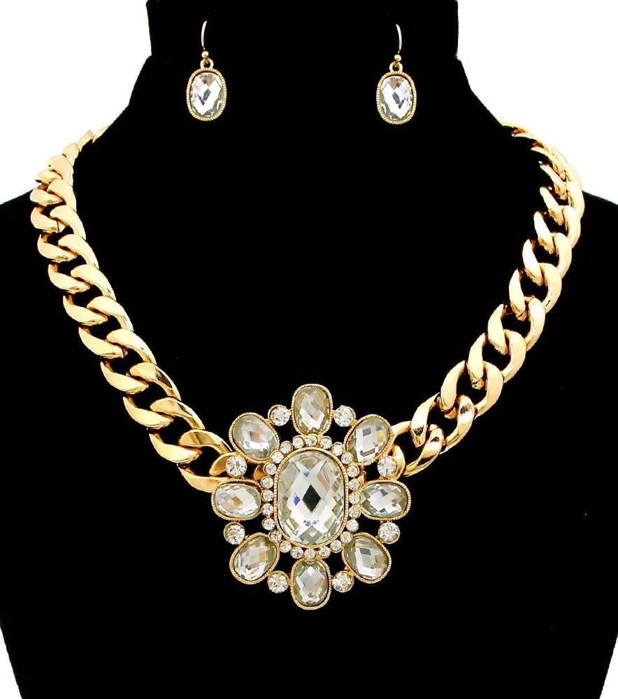 Chunky Gold Chain Clear Crystal Necklace Earrings Clear Crystal Pendant Necklace