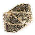 Antique Gold Color Leaf Bangle Bracelet Chunky Gold Bangle Gold Leaf Bracelet