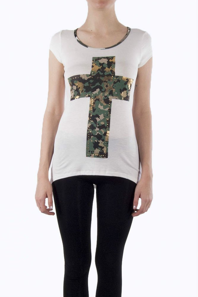 Ivory Camouflage Top Cut Out Back Army Print Military Top Cross Top Juniors S